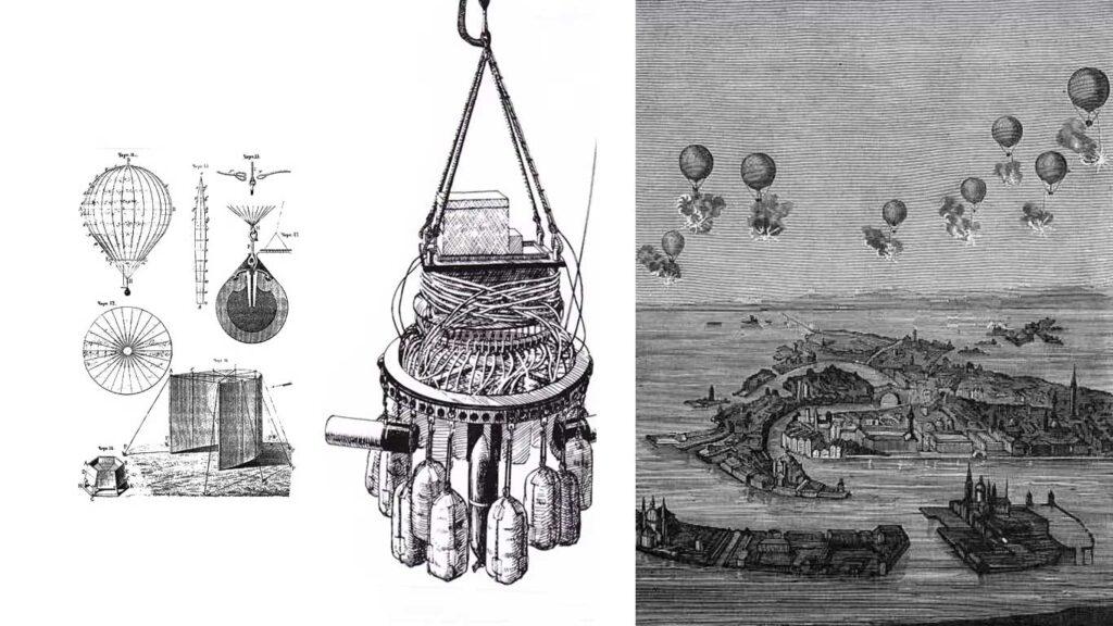 disegni tecnici dei droni austriaci e un disegno dell'attacco a venezia