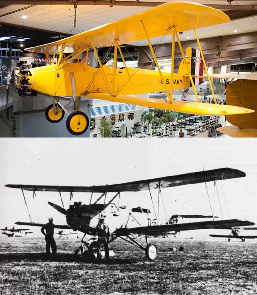 il curtiss originale conservato in museo e una foto d'epoca della trasformazione in drone