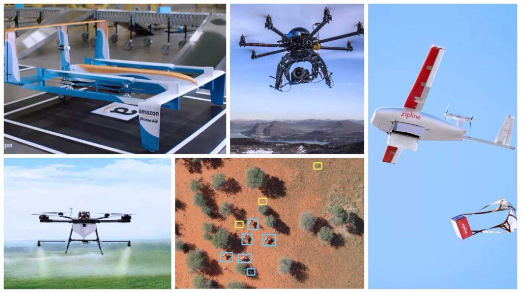 collage di droni moderni in vari utilizzi: consegne, agricoltura, ecc.