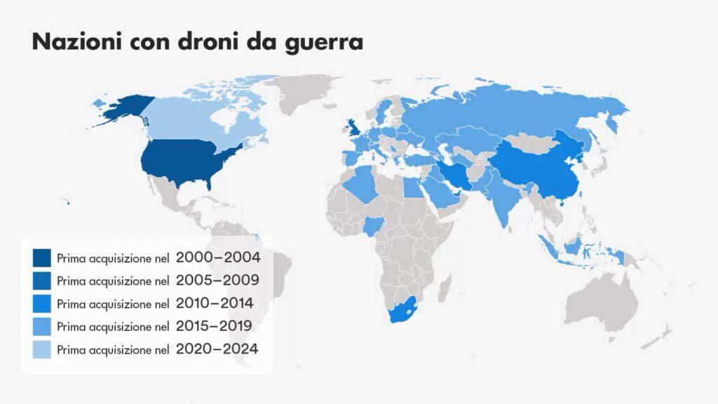 mappa della distribuzione dei droni militari nel mondo