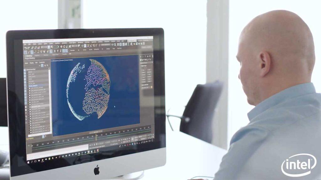 tecnico al software per creare gli spettacoli di droni luminosi