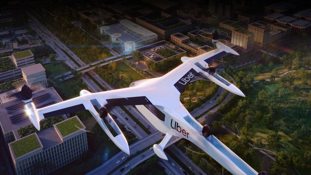concept di drone uber in volo