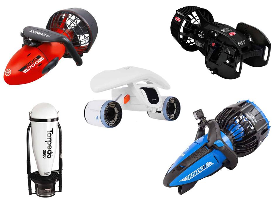 droni DPV collage scooter subacquei